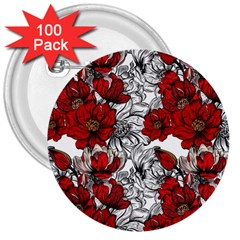 Hand Drawn Red Flowers Pattern 3  Buttons (100 Pack)  by TastefulDesigns