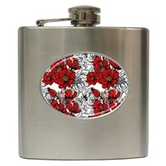 Hand Drawn Red Flowers Pattern Hip Flask (6 Oz) by TastefulDesigns