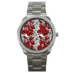 Hand Drawn Red Flowers Pattern Sport Metal Watch by TastefulDesigns