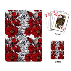 Hand Drawn Red Flowers Pattern Playing Card by TastefulDesigns