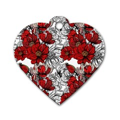 Hand Drawn Red Flowers Pattern Dog Tag Heart (two Sides) by TastefulDesigns