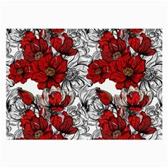 Hand Drawn Red Flowers Pattern Large Glasses Cloth (2 Side) by TastefulDesigns