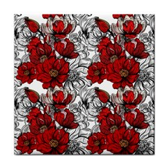 Hand Drawn Red Flowers Pattern Face Towel by TastefulDesigns