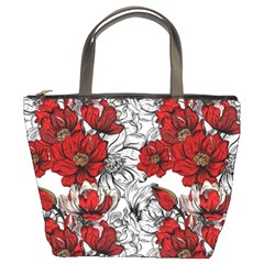 Hand Drawn Red Flowers Pattern Bucket Bags by TastefulDesigns