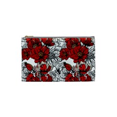 Hand Drawn Red Flowers Pattern Cosmetic Bag (small)  by TastefulDesigns
