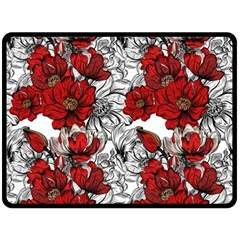Hand Drawn Red Flowers Pattern Fleece Blanket (large)  by TastefulDesigns