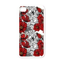Hand Drawn Red Flowers Pattern Apple Iphone 4 Case (white) by TastefulDesigns