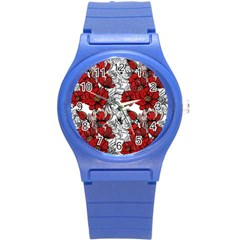 Hand Drawn Red Flowers Pattern Round Plastic Sport Watch (s) by TastefulDesigns
