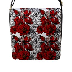 Hand Drawn Red Flowers Pattern Flap Messenger Bag (l)  by TastefulDesigns