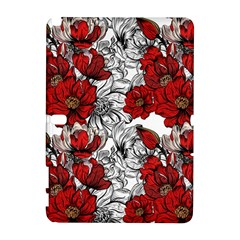 Hand Drawn Red Flowers Pattern Galaxy Note 1 by TastefulDesigns