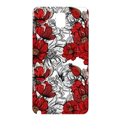 Hand Drawn Red Flowers Pattern Samsung Galaxy Note 3 N9005 Hardshell Back Case by TastefulDesigns