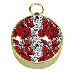 Hand Drawn Red Flowers Pattern Gold Compasses by TastefulDesigns