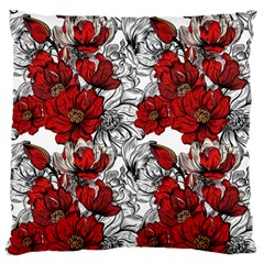 Hand Drawn Red Flowers Pattern Standard Flano Cushion Case (one Side) by TastefulDesigns