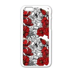 Hand Drawn Red Flowers Pattern Apple Iphone 6/6s White Enamel Case by TastefulDesigns