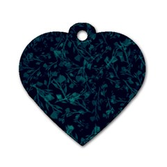 Leaf Pattern Dog Tag Heart (two Sides) by berwies