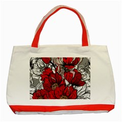 Red Flowers Pattern Classic Tote Bag (red) by TastefulDesigns