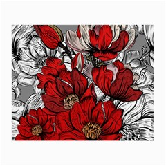 Red Flowers Pattern Small Glasses Cloth (2 Side) by TastefulDesigns