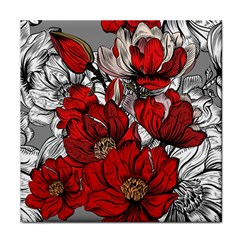 Red Flowers Pattern Face Towel by TastefulDesigns