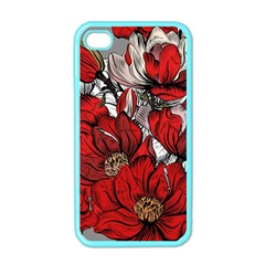 Red Flowers Pattern Apple Iphone 4 Case (color) by TastefulDesigns