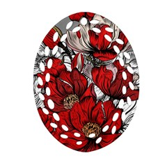 Red Flowers Pattern Oval Filigree Ornament (two Sides) by TastefulDesigns