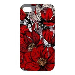 Red Flowers Pattern Apple Iphone 4/4s Hardshell Case by TastefulDesigns