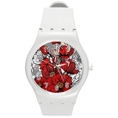 Red Flowers Pattern Round Plastic Sport Watch (m) by TastefulDesigns