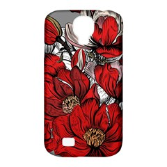 Red Flowers Pattern Samsung Galaxy S4 Classic Hardshell Case (pc+silicone) by TastefulDesigns