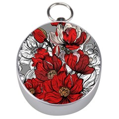 Red Flowers Pattern Silver Compasses by TastefulDesigns