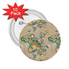 Hand Drawn Batik Floral Pattern 2 25  Buttons (10 Pack)  by TastefulDesigns