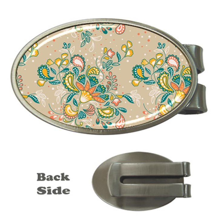 Hand drawn batik floral pattern Money Clips (Oval)