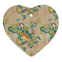 Hand Drawn Batik Floral Pattern Heart Ornament (two Sides) by TastefulDesigns