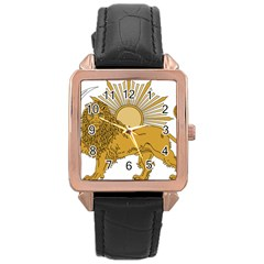 National Emblem Of Iran, Provisional Government Of Iran, 1979 1980 Rose Gold Leather Watch  by abbeyz71