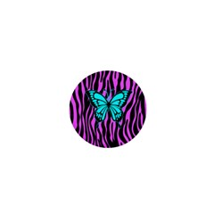 Zebra Stripes Black Pink   Butterfly Turquoise 1  Mini Buttons by EDDArt