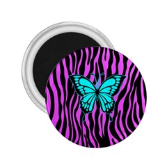 Zebra Stripes Black Pink   Butterfly Turquoise 2 25  Magnets by EDDArt