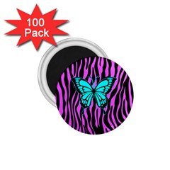 Zebra Stripes Black Pink   Butterfly Turquoise 1 75  Magnets (100 Pack)  by EDDArt