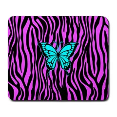 Zebra Stripes Black Pink   Butterfly Turquoise Large Mousepads by EDDArt