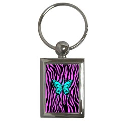 Zebra Stripes Black Pink   Butterfly Turquoise Key Chains (rectangle)  by EDDArt