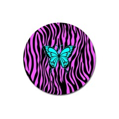 Zebra Stripes Black Pink   Butterfly Turquoise Magnet 3  (round) by EDDArt