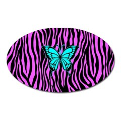 Zebra Stripes Black Pink   Butterfly Turquoise Oval Magnet by EDDArt
