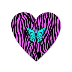 Zebra Stripes Black Pink   Butterfly Turquoise Heart Magnet by EDDArt