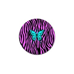 Zebra Stripes Black Pink   Butterfly Turquoise Golf Ball Marker (10 Pack) by EDDArt