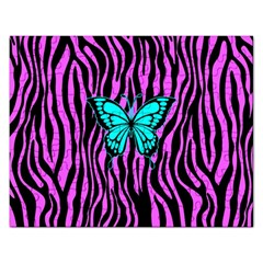 Zebra Stripes Black Pink   Butterfly Turquoise Rectangular Jigsaw Puzzl by EDDArt