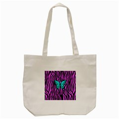 Zebra Stripes Black Pink   Butterfly Turquoise Tote Bag (cream) by EDDArt