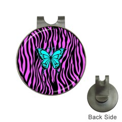 Zebra Stripes Black Pink   Butterfly Turquoise Hat Clips With Golf Markers by EDDArt