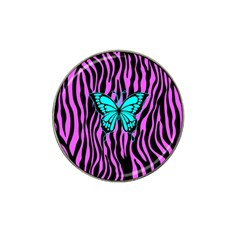 Zebra Stripes Black Pink   Butterfly Turquoise Hat Clip Ball Marker by EDDArt
