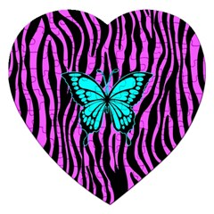 Zebra Stripes Black Pink   Butterfly Turquoise Jigsaw Puzzle (heart) by EDDArt