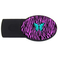 Zebra Stripes Black Pink   Butterfly Turquoise Usb Flash Drive Oval (4 Gb) by EDDArt
