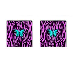 Zebra Stripes Black Pink   Butterfly Turquoise Cufflinks (square) by EDDArt