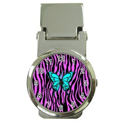 Zebra Stripes Black Pink   Butterfly Turquoise Money Clip Watches by EDDArt