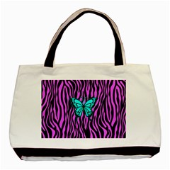 Zebra Stripes Black Pink   Butterfly Turquoise Basic Tote Bag by EDDArt